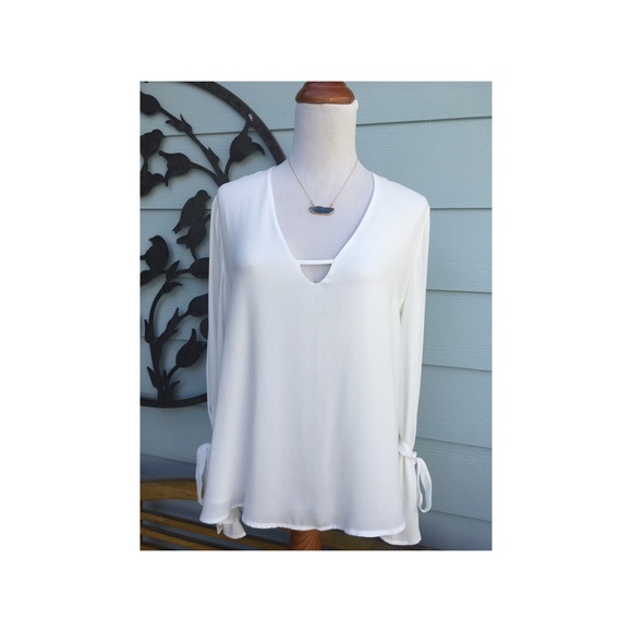 97350eea05cf8f Lush Tops | Beautiful White Flowing Shirt By | Poshmark